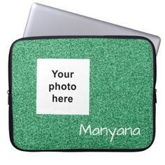 Custom photo and text green faux glitter laptop sleeve - glitter glamour brilliance sparkle design idea diy elegant