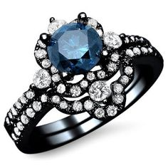 1.65ct Fancy Blue Round Diamond Engagement Ring Bridal Set 18k Black Gold with a .75ct Center Diamond and .90ct of Surrounding Diamonds Front Jewelers,http://www.amazon.com/dp/B00BEJKUY2/ref=cm_sw_r_pi_dp_kAO.sb05TAM3T5AA