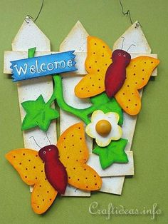 Summer Wood Craft - Door Sign - Fence with Butterflies - Craftideas.info