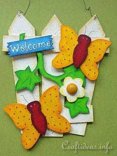 Summer Wood Craft - Door Sign - Fence with Butterflies - Craftideas.info