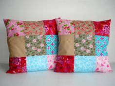 Check out our sewing & needlecraft selection for the very best in unique or custom, handmade pieces from our shops. Homemade Pillows, Diy Pillows, Decorative Pillows, Beginner Quilt Patterns, Quilting For Beginners, Patchwork Pillow, Quilted Pillow, Sewing Crafts, Sewing Projects