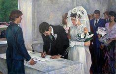 Casamento na Rússia, década de 1960. Ignoro a autoria dessa ilustração.