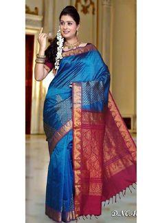 Blue With Red Kanchipuram Silk Trendy Saree