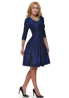 Rochie de toamna in clos cu imprimeu albastru R085i963