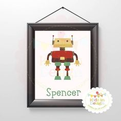 Birthday Print, Announcement Print, Wall Art for Baby, Baby Arrival Present for boy or girl, jpg, pdf, printable, milestone, gift, robot $20 via @Shopseen