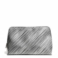 The Coach Bleecker Large Cosmetic Case in Black and White Print Coated Canvas