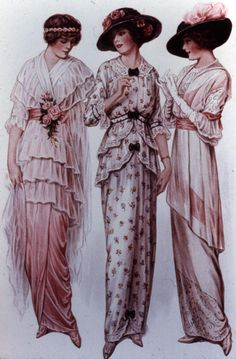 1910's Day dresses - lamp shade or tunic styles. An elongated top over a tight skirt. Large hat. Note the change from Gibson Girl fashion at the turn of the century. Art Nouveau slim, trailing gowns are coming in.