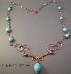 Turquoise And Copper Wire Wrapped Statement by MadeByMyLeftHand