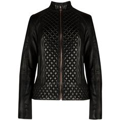 Ted Baker Leather Quilted Jacket, Black ($550) ❤ liked on Polyvore