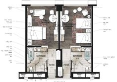 Hotel Bedroom Design, Boutique Hotel Room, Master Suite Bathroom, Hotel Floor Plan, Shanghai Hotels, Floor Plan Layout, Marriott Hotels, Room Planning, Hotel Suites