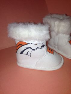 Loley pops creations AFC Champions Denver Broncos baby boots 0-3 and 3-6 months on Etsy, $15.00