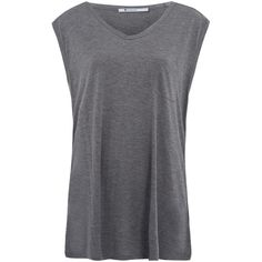 T By Alexander Wang Grey Classic Muscle T-Shirt ($54) ❤ liked on Polyvore featuring tops, shirts, t-shirts, tank tops, tees, grey shirt, v-neck shirt, muscle t shirts, sleeveless muscle t shirts and gray top