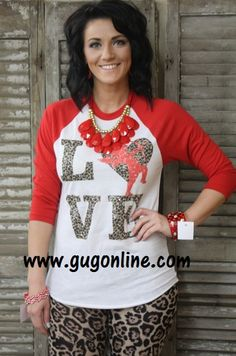 Shop now at www.gugonline.com! Cheetah Love Cupid Red Baseball Tee-AlSO IN KIDS SIZES