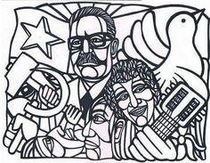 Mural en Neza Pablo Neruda, Victor Jara, Latina, Communism, Anubis, Street Art, Collage, Japan, Stickers