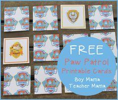 Boy Mama Teacher Mama  FREE Paw Patrol Printable Cards (featured)