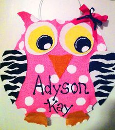 Burlap Stuffed Owl Door or Wall Hanging by NikkiDsCreations, $25.00