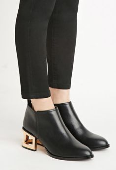 GOLD HEELS! YES YES & YES! Cutout-Heel Faux Leather Booties | Forever 21 - 2000172508