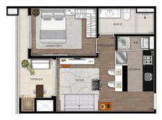 Bridi Imóveis: INK Champagnat One Bedroom House Plans, 1 Bedroom House, Small House Plans, Studio Type Apartment, Apartment Design, Small Tiny House, Apartment Floor Plans, Floor Plan Layout, Tiny Apartments