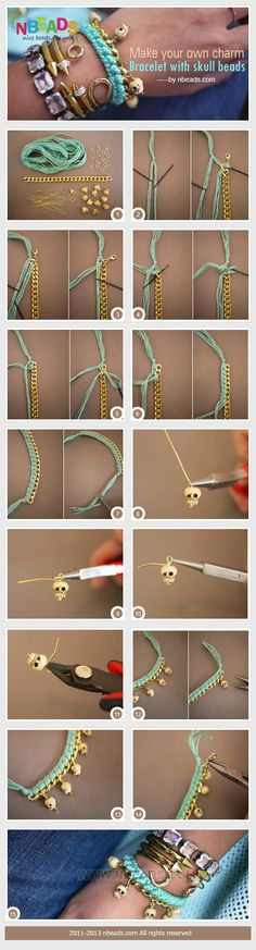 make your own charm bracelet with skull beads
