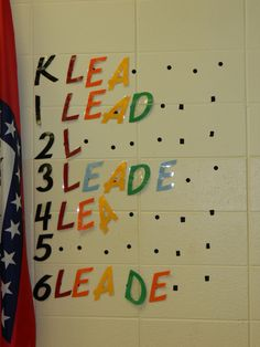 """Spelling """"Leadership"""" by grade level in the cafeteria. This is an incentive for each grade level to work together to earn a letter by following the rules and procedures. Once they spell leadership, they earn an extra recess."""