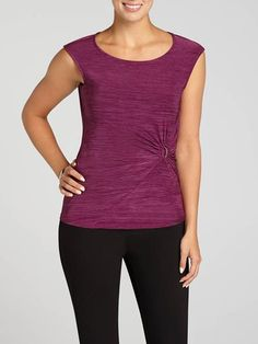 Laura. Sleeveless. Scoop neck. Dimension knit. Side buckle detail. Pull-on style. Slight stretch. Made in Canada....3030337-0721