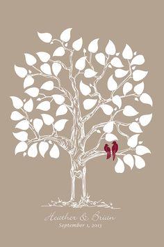 Guestbook Wedding Hand drawn Wedding Tree, Guest book alternative, Hand drawn sketched wedding tree with love birds modern wedding print on Etsy, $35.00