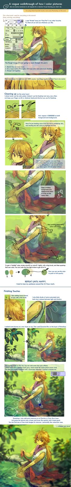 Nuriko's coloring tutorials for Paint Tool SAI. I love the coloring style!