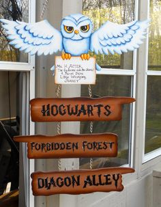 This is pretty cool! Harry Potter Hedwig sign for Hogwarts Forbidden Forest and Diagon Alley