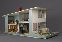 """""""I was amazed and delighted by this doll's house. Based on designs by Gerrit Rietveld, one of the great early twentieth-century designers, it re-creates a house, probably in the Netherlands, filled with representative furniture also designed by Rietveld. We could not pass up the opportunity to acquire this great object for our collection."""" — #ArnoldLehman for #DiverseWorks[Gerrit Th. Rietveld (Dutch, 1888-1964). Doll's House, 1952.] #BKMdecarts #DiverseWorks"""