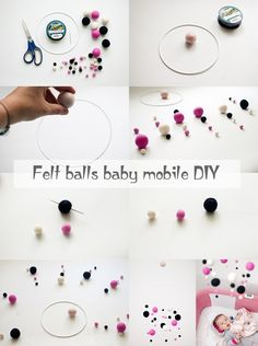 Felt balls baby mobile DIY tutorial