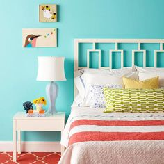 Colorful Bedroom, love the headboard!!