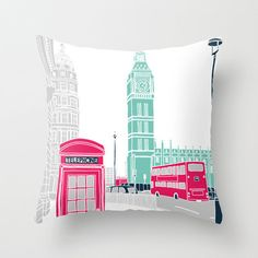 London Throw Pillow by Bluebutton Studio