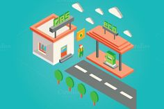 isometric 3d gas station. Infographic Elements. $9.00