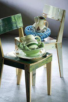 stoel sloophout groen keramiek