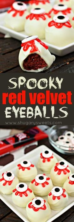 How fun are these Spooky Eyeball Red Velvet Cake Balls for this Halloween? Great for dessert, bake sales, and class parties!