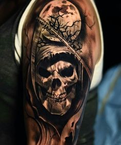 - - Tattoos – -Tattoos - - Tattoos – - 100 beautiful blackwork tattoo designs-redefining the art of tattooing with Fire feather tattoo by Cox Tattoo Source: tetimalik_tattoo Evil Skull Tattoo, Skull Rose Tattoos, Evil Tattoos, Skull Sleeve Tattoos, Grim Reaper Tattoo, Scary Tattoos, Forarm Tattoos, Skull Tattoo Design, Best Sleeve Tattoos