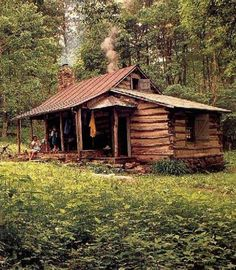 Log cabin in the woods. Too grungy and dark but i am pinning because i think it is interesting how the add on is attatched to the little cabin Old Cabins, Tiny Cabins, Log Cabin Homes, Cabins And Cottages, Cabins In The Woods, Rustic Cabins, Rustic Homes, Country Homes, Tennessee Cabins
