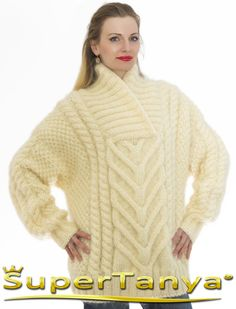 Made to order shawl collar cable knit mohair sweater in ivory, 100 % hand knitted by SuperTanya