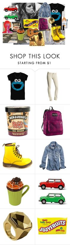 """""""blublu"""" by batatinha22 ❤ liked on Polyvore featuring WALL, xO Design, AG Adriano Goldschmied, JanSport, Dr. Martens, American Eagle Outfitters, Dylan's Candy Bar, GAS Jeans and H&M"""