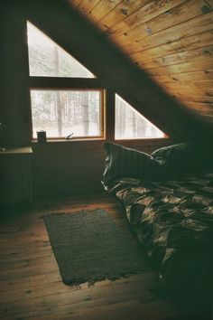 plasmatics-life:  Untitled ~ By Daniella Liberty Attic Bedrooms, Attic Bedroom Small, Attic Loft, Loft Room, Small Rooms, Attic Spaces, Bedroom Decor, Cozy Bedroom, Wooden Bedroom, Mobile Home, Home Decor, Windows, Bedrooms, Snuggles, Great Ideas, Interiors, Cosy Room, Natural Homes, Modern Houses, Rustic Homes
