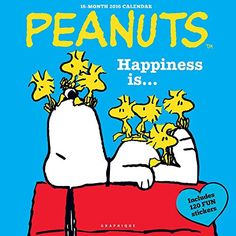2016 PEANUTS HAPPINESS IS ... WALL CALENDAR with 120 Fun Stickers @ niftywarehouse.com #NiftyWarehouse #Peanuts #CharlieBrown #Comics #Gifts #Products