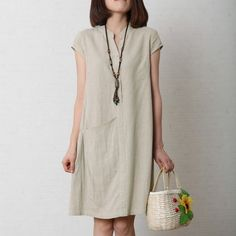 OMYCHIC  Nude cotton dress plus size shift dress linen sundressesThis dress is made of cotton linen fabric, soft and breathy, suitable for summer, so loose dresses to make you comfortable all the time.Measurement:  Size M  length 87cm / 33.93