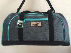 PUMA Unisex Grey Green Inertial Duffel Gym bag luggage 11.5