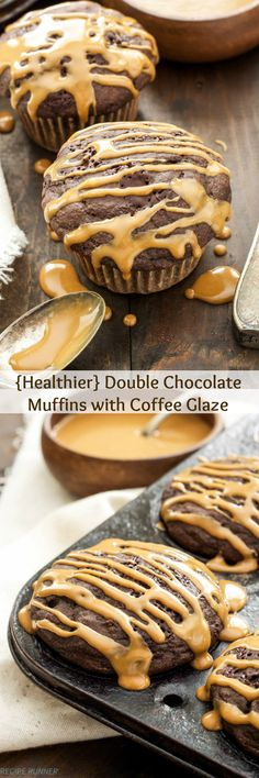 Healthier Double Chocolate Muffins with Coffee Glaze | All the decadence of a…