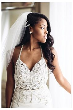 33 Trendy wedding hairstyles updo with veil black women - Wedding Dress Black Wedding Hairstyles, Bride Hairstyles, Black Women Hairstyles, Hairstyles With Bangs, Trendy Hairstyles, Bridesmaids Hairstyles, Short Haircuts, Natural Hairstyles, Best Human Hair Wigs