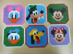 Mickey Mouse and friends coaster set hama beads by Mundo Caprichos