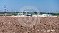 Power plant in the middle of plow farm field. Copy space at bottom. Landscapes, Middle, Space, Plants, Paisajes, Floor Space, Scenery, Plant, Planets