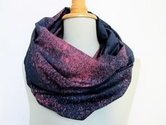 galaxy scarf - infinity loop night sky  - handdyed blueblack/magenta. €35.00, via Etsy.