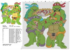 Ninja Turtles eating pizza free cross stitch pattern