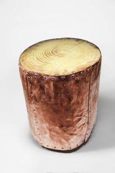 stump cuivre bo souche de bois table basse cuivre par railis